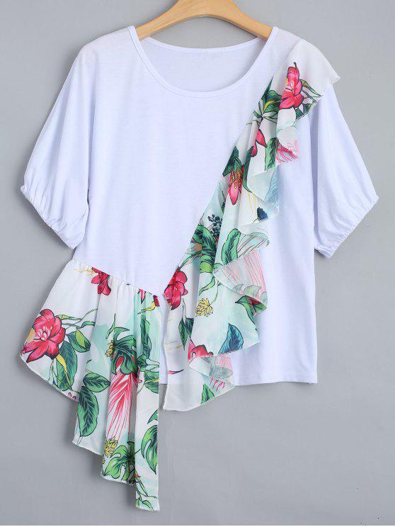 Camiseta floral de la impresión de los volantes - Blanco L