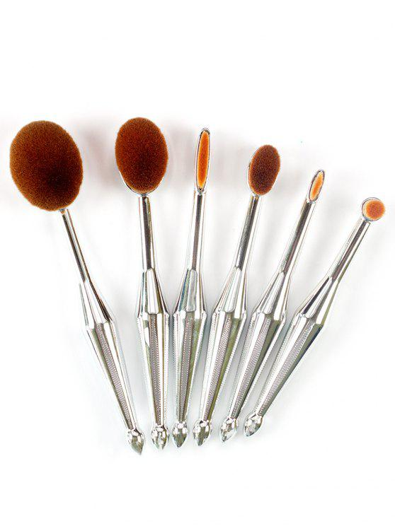 6Pcs Set De Brosse A Maquillage Facial Design En Forme De Brosse A Dents - Argent