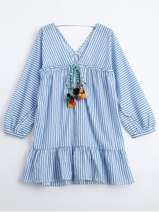 فستان كشكش مخطط تونك - شريط M