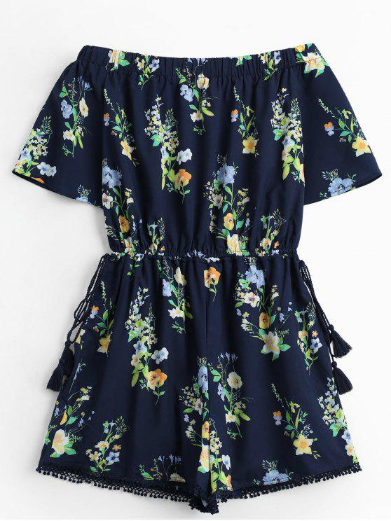 shops Off The Shoulder Drawstring Floral Print Romper - PURPLISH BLUE L