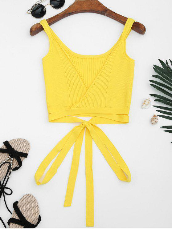 fashion Knitted Wrap Crop Tank Top - YELLOW S