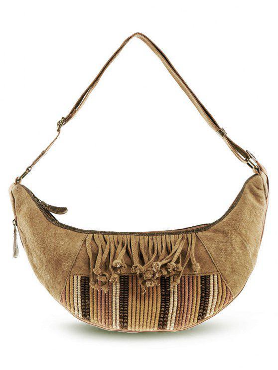 sale Ethnic Linen Tassel Crossbody Bag - KHAKI