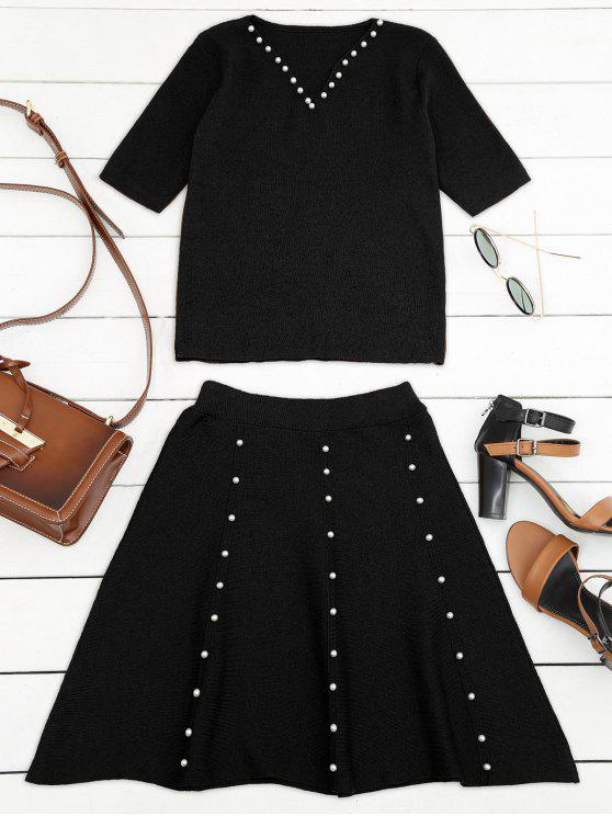women Knitted Beading Top and A Line Mini Skirt - BLACK ONE SIZE