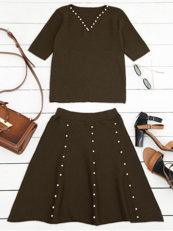women's Knitted Beading Top and A Line Mini Skirt - COFFEE ONE SIZE