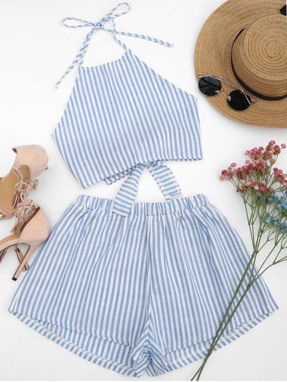 lady Halter Striped Two Piece Suit - LIGHT BLUE M