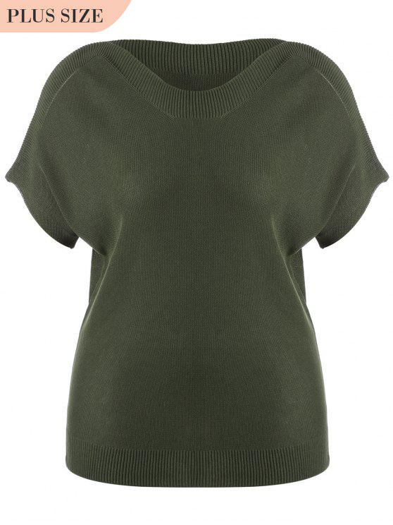 buy Batwing Kintting Plus Size Top - ARMY GREEN 5XL