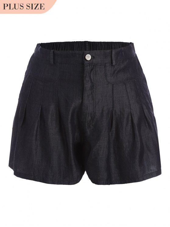 lady High Waisted Casual Plus Size Shorts - BLACK 5XL