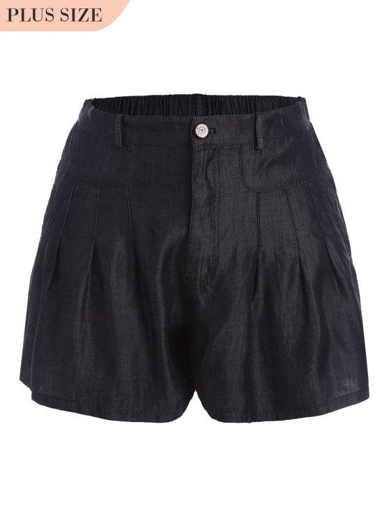 Short taille haute taille décontractée - Noir 4XL