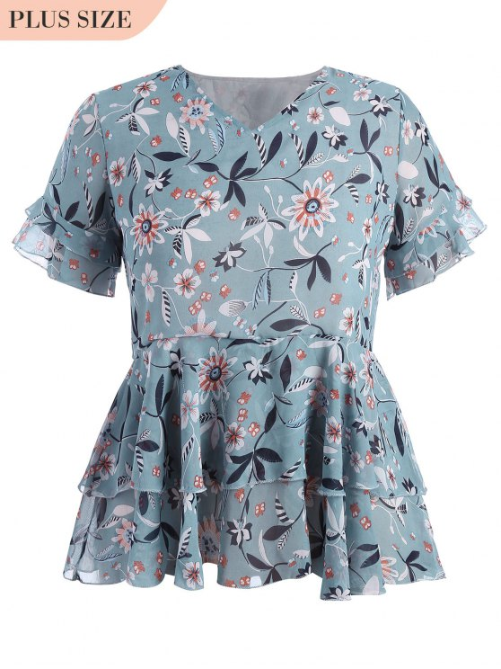 outfit Plus Size Floral Ruffles Top - FLORAL 4XL