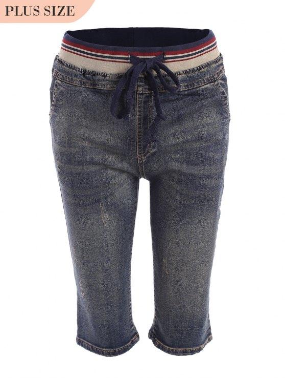 affordable Plus Size Drawstring Fifth Jeans - DENIM BLUE 2XL