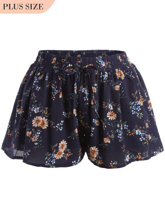 chic Elastic Waist Plus Size Tiny Floral Shorts - FLORAL XL