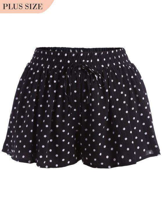 shop Elastic Waist Plus Size Polka Dot Shorts - WHITE AND BLACK 4XL