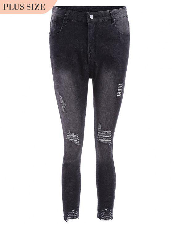 Cutoffs Ripped Plus Size Jeans - Noir 2XL