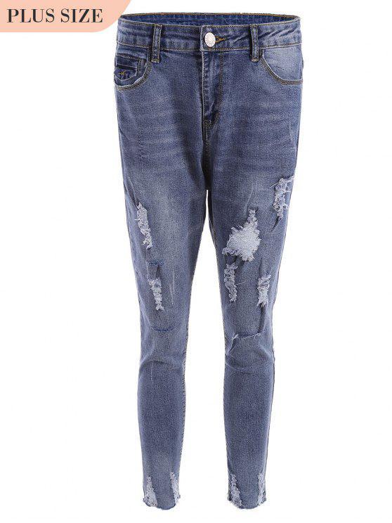 Jeans taille coupés taille plus - Bleu XL
