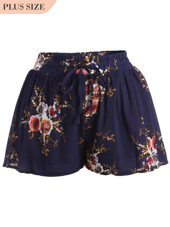 latest Plus Size Lined Floral Shorts - FLORAL 3XL