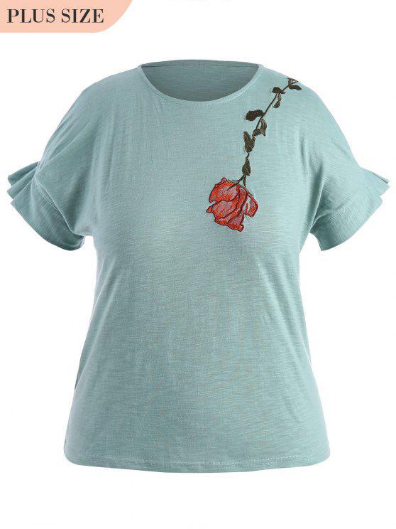 Drapé Sleeve Plus Size Floral Brodé Top - Bleu clair XL
