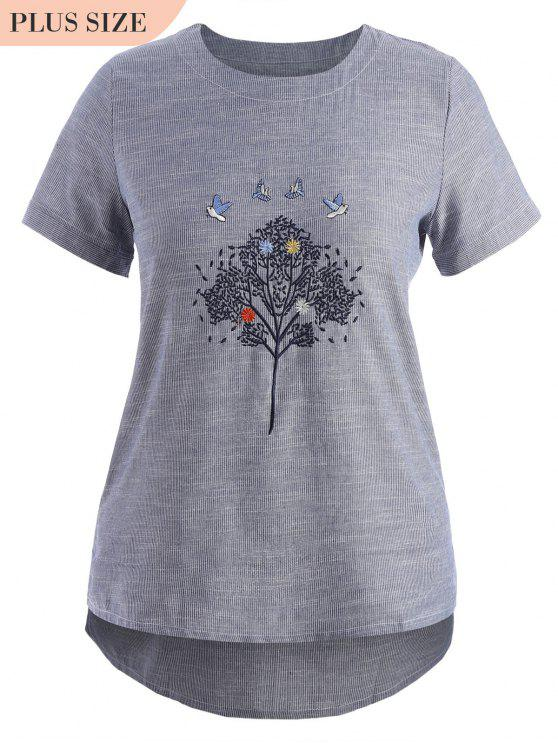 outfit Embroidered Plus Size Striped Top - GRAY 3XL
