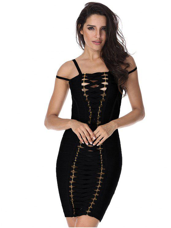 Cut Out Bodycon Cami Bandage Dress - Preto L
