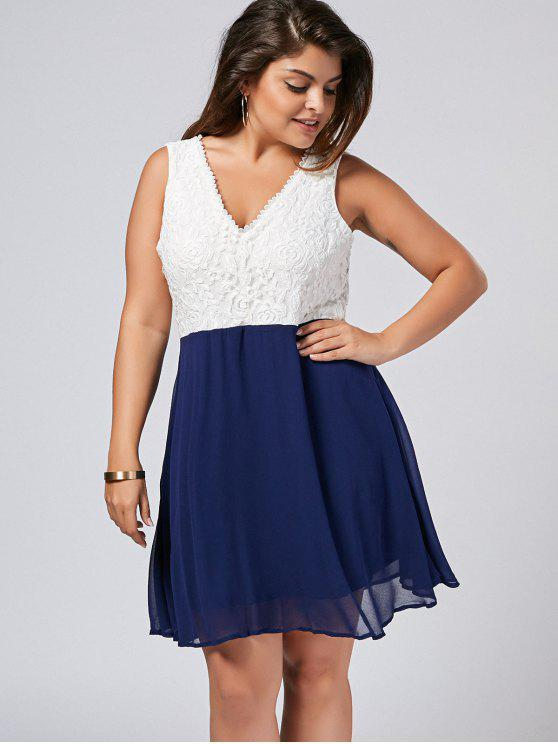 Lace Panel Two Tone Plus Size Dress - Azul e Branco 3XL