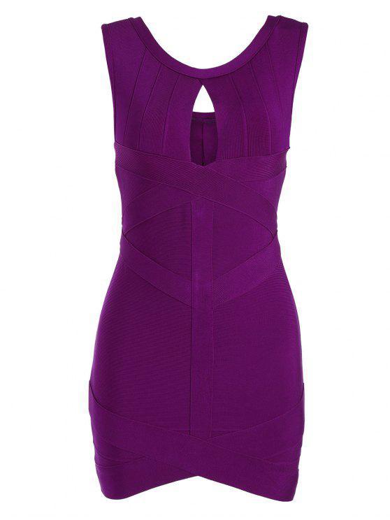 womens Sleeveless Cut Out Bodycon Bandage Dress - PURPLISH RED S