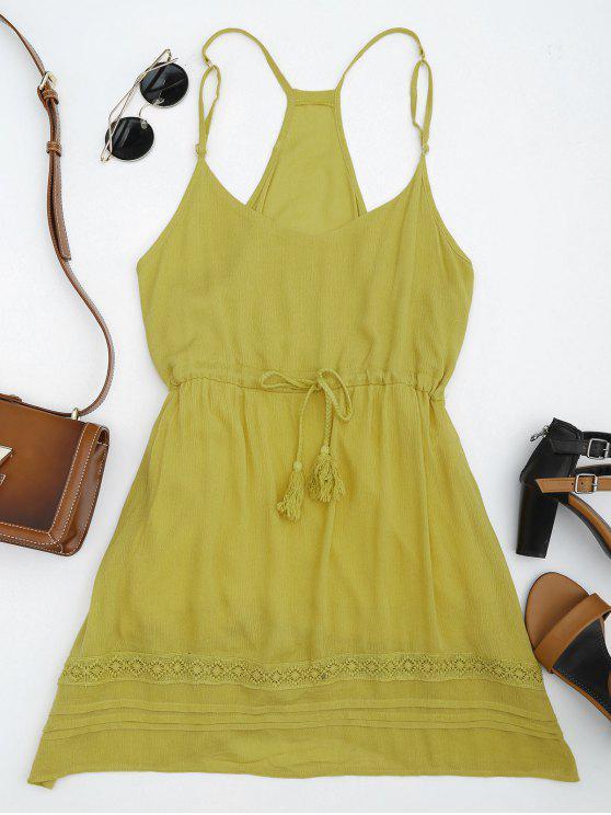 ladies Spaghetti Straps Drawstring Waist Summer Dress - GINGER L