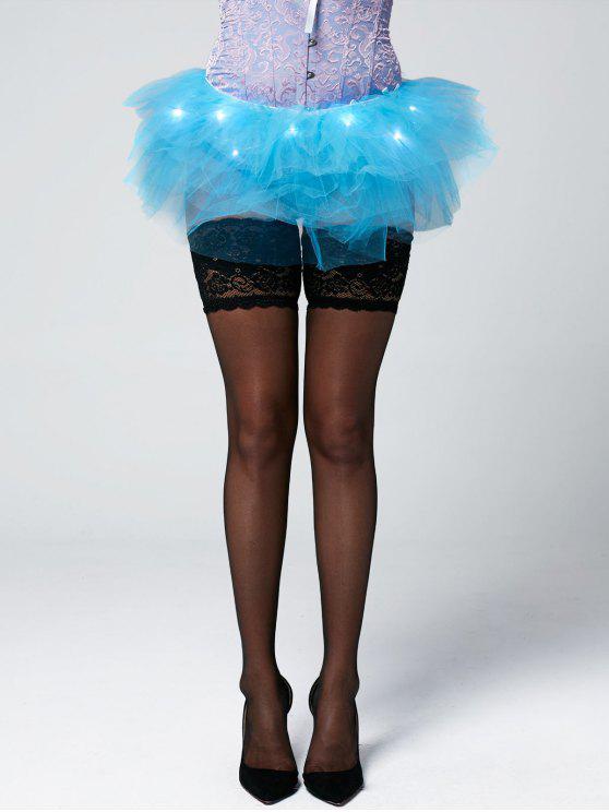 Tier Mesh Light Up Ballet Cosplay Falda - Azul Claro Única Talla