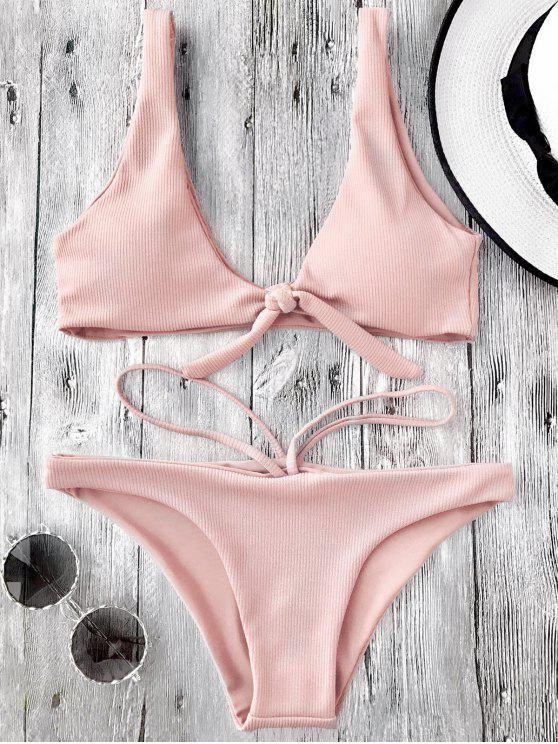 shop Knotted Textured Scoop Bikini Set - PINK L