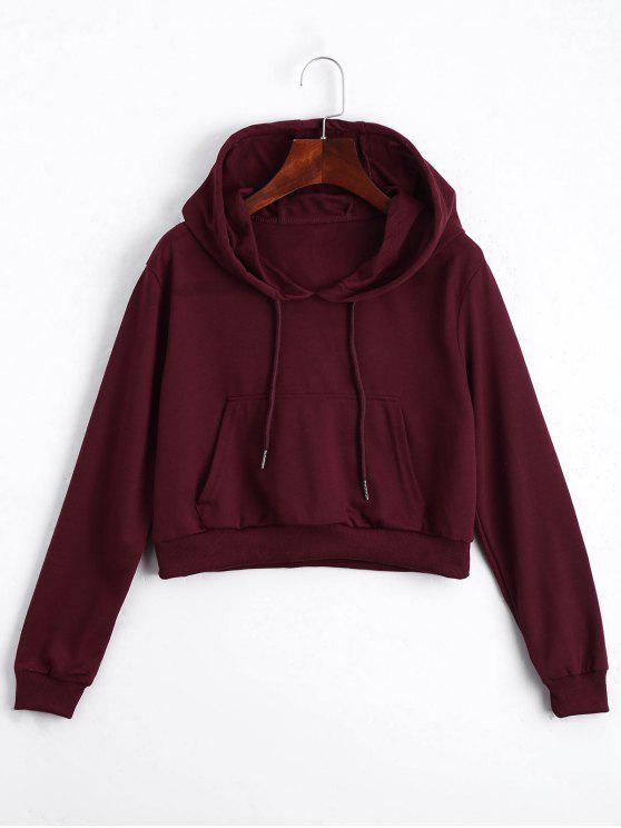 fashion Front Pocket Crop Hoodie - DEEP RED S
