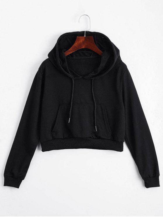 Abgeschnitten Pullover mit Fronttasche - Schwarz S