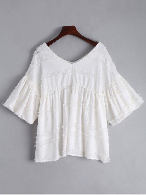 V cuello linterna manga blusa lisa - Blanco XL