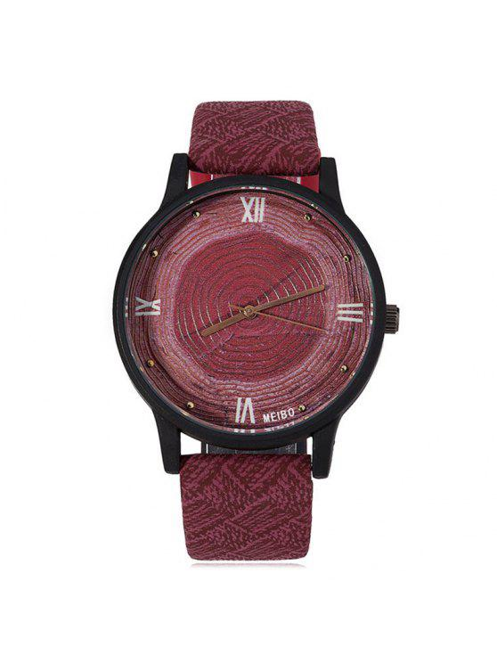 affordable Wood Growth Rings Face Faux Leather Watch - WINE RED