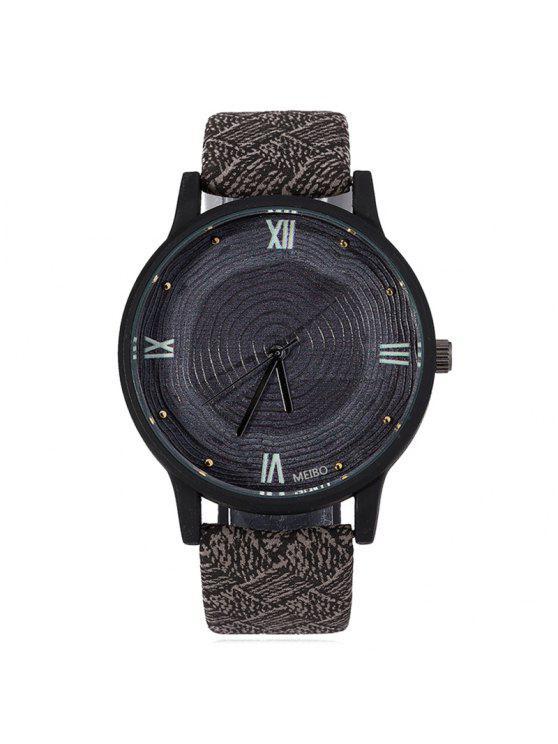 Anillo De Crecimiento De Madera Cara De Cuero Faux Watch - Negro