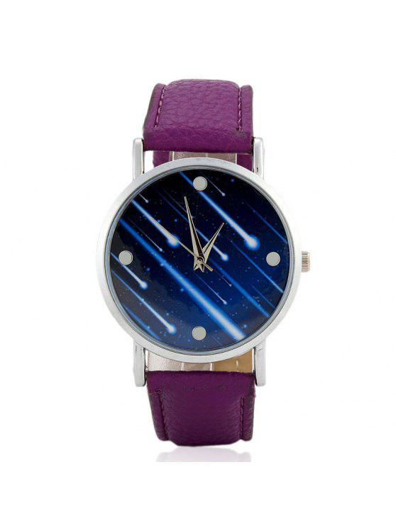 womens Faux Leather Strap Meteor Shower Face Watch - PURPLE