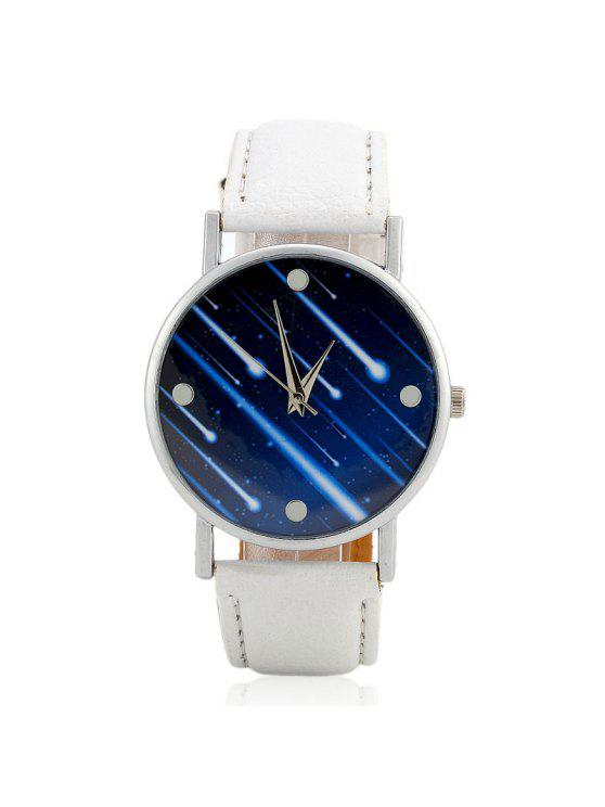 ladies Faux Leather Strap Meteor Shower Face Watch - WHITE
