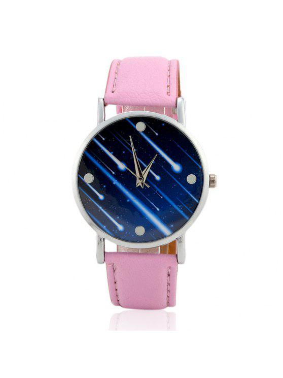 lady Faux Leather Strap Meteor Shower Face Watch - PINK