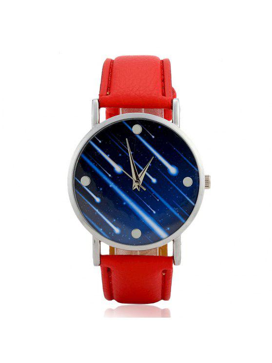Faux Leather Strap Meteor Shower Face Watch - Vermelho