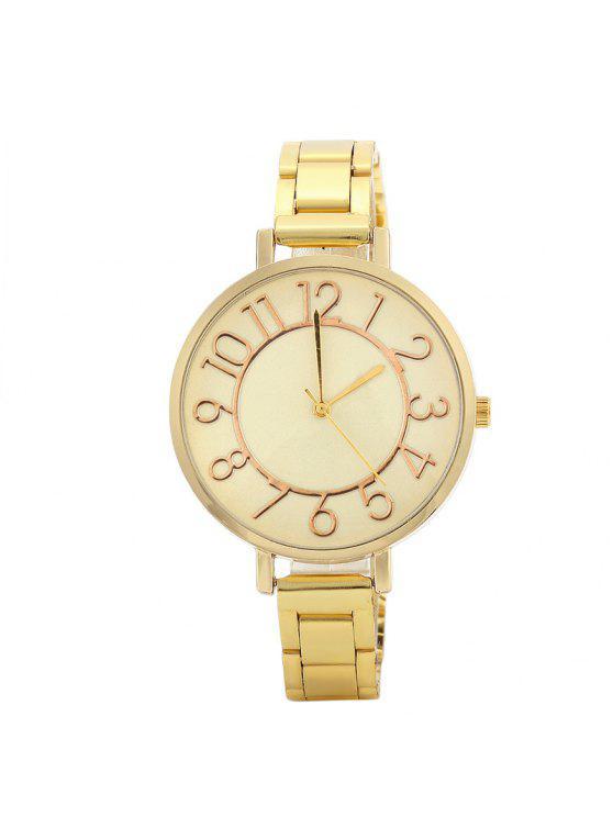 Reloj de cuarzo de la correa de la aleación del número - Dorado