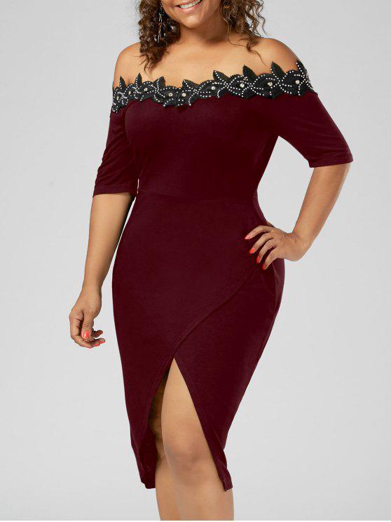 Vestido de tamanho Applique Trim Pencil - Vinho vermelho 3XL