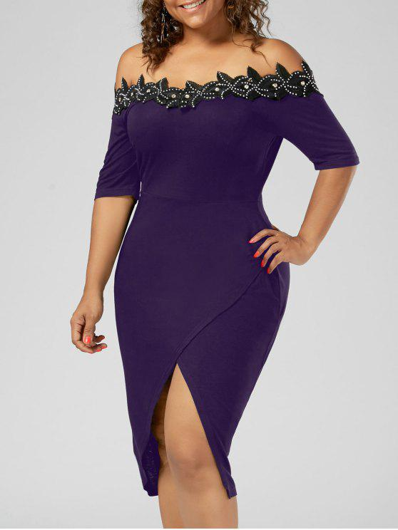 فستان الحجم الكبير أبليك تريم رصاص - أرجواني 5XL