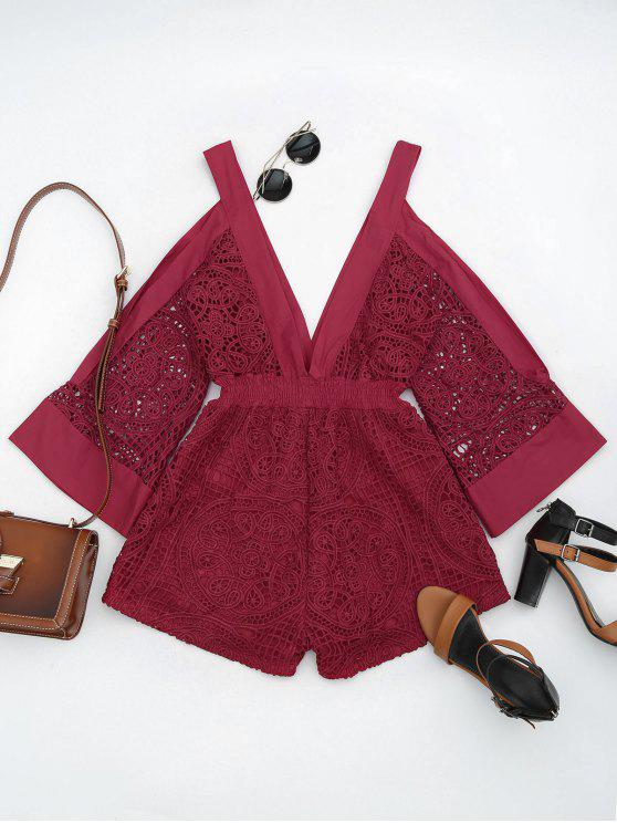 trendy Plunging Neck Cold Shoulder Hollow Out Romper - RED S