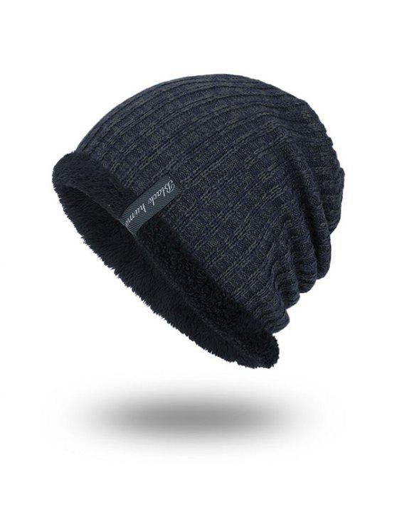 المخملية بطانة الحياكة قبعة دافئة - الزرقاء الحجر