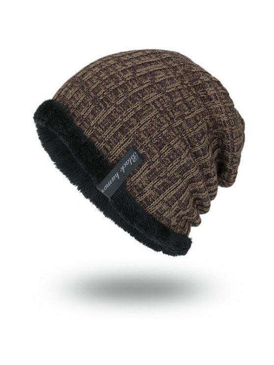 المخملية بطانة الحياكة قبعة دافئة - ترابي