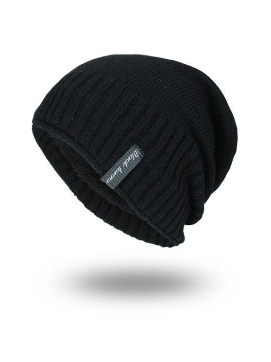 بينستريب محبوك المخملية بطانة قبعة صغيرة - أسود
