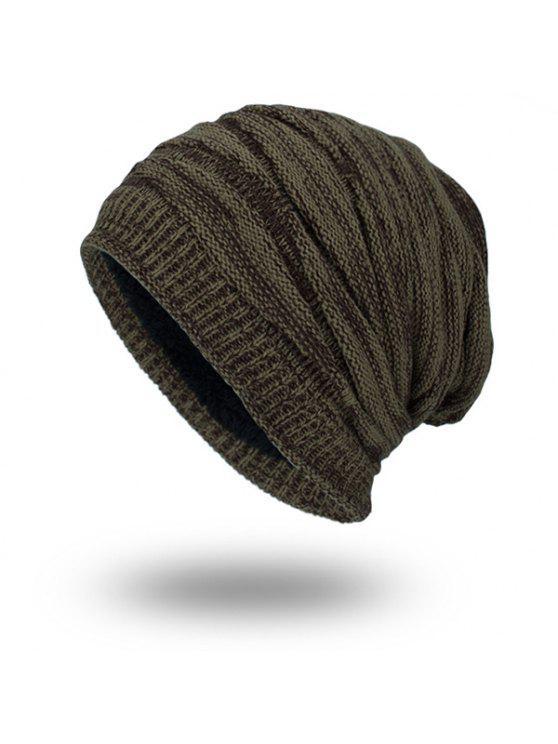 بطانة المخملية بطانة محبوك قبعة صغيرة - ترابي