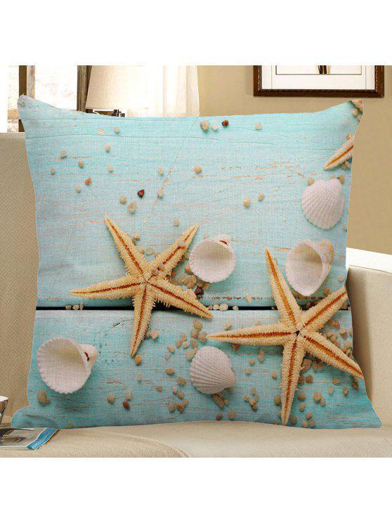 نجم البحر قذيفة قذيفة طباعة الكتان وسادة القضية - الضوء الأزرق 45 * 45CM