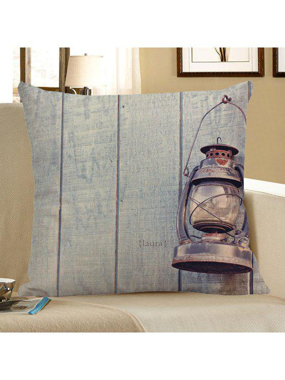 غشاء مخدة بطبعة ألواح خشبية ومصباح - أزرق فاتح 45 * 45CM