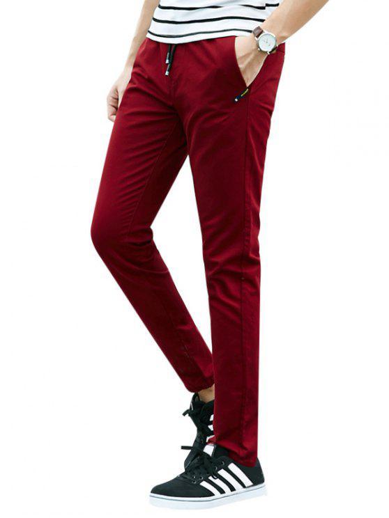متعددة جيوب تصميم الرباط السراويل عارضة - أحمر غامق XL