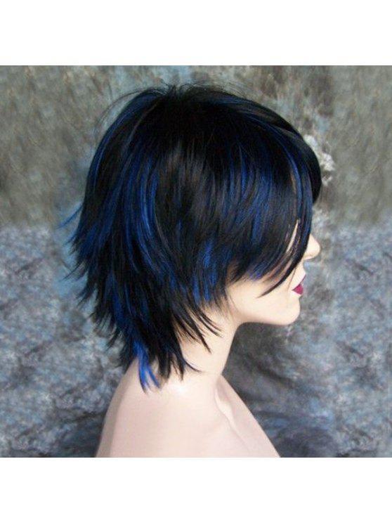 يميل بانغ قصيرة تسليط الضوء على شعر مستعار الاصطناعية مستقيم - الأزرق والأسود