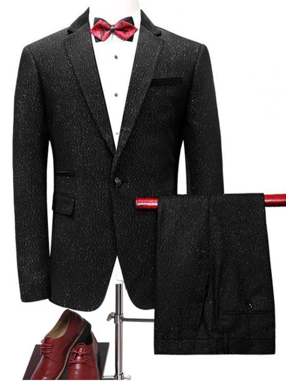 بدلة الملابس بليزر بزر واحد وبنطلون - أسود L