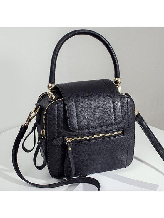 حقيبة اليد بجلد اصطناعي بسحاب - أسود